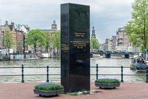 Memorial to the Dutch Jewish resistance in world War 2 at the junction of the River Amstel and Zwanenburgwal Canal